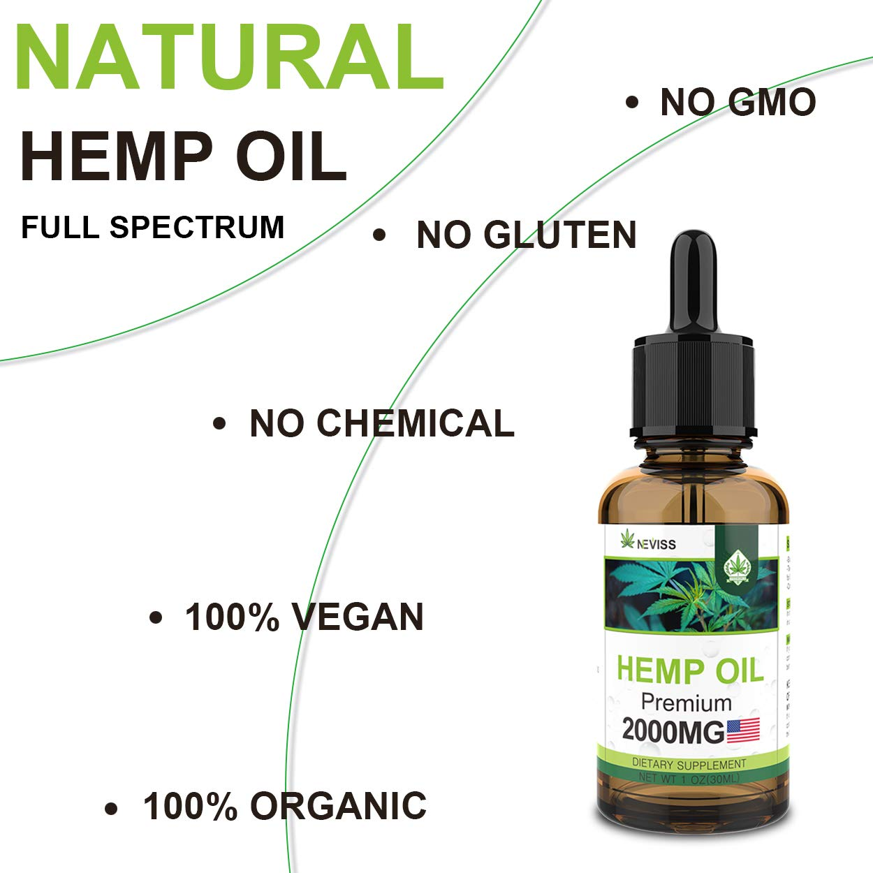 (2 Pack) Hemp Oil 2000mg for Relieve Pain, Stress & Anxiety Relief, Improve Sleep - Organic Hemp Herbal Oil, 100% Natural Hemp Herbal Extract - Made in USA