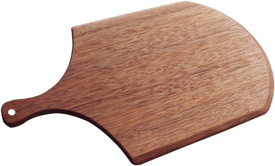 QAX - Pala para pizza de madera de nogal con asa, pulido a mano con agujero para colgar, para horno de barbacoa, cocina, 23 cm