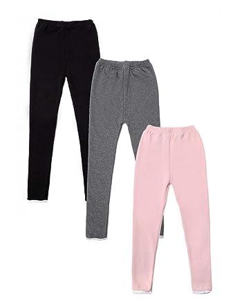 ec556c5c37ce09 WODISON 3 Pack Girls Kids Fleece Lined Leggings Cotton Stretch Full Length  Warm Pants Ages 3