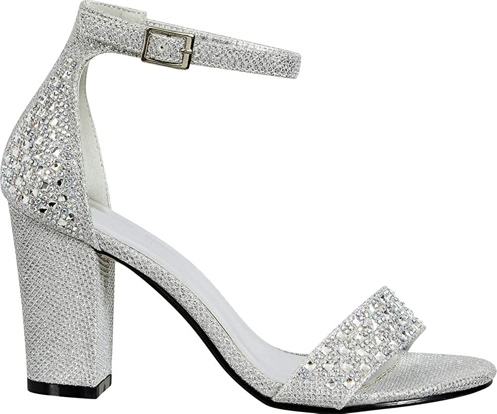 Cambridge Select Womens Open Toe Crystal Rhinestone Ankle Strappy Block Heel Sandal