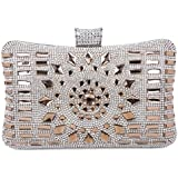 Tanpell Women's Rhinestone Evening Bag Crystal Clutches Bags Wedding Purse with Detachable Chain Coffee