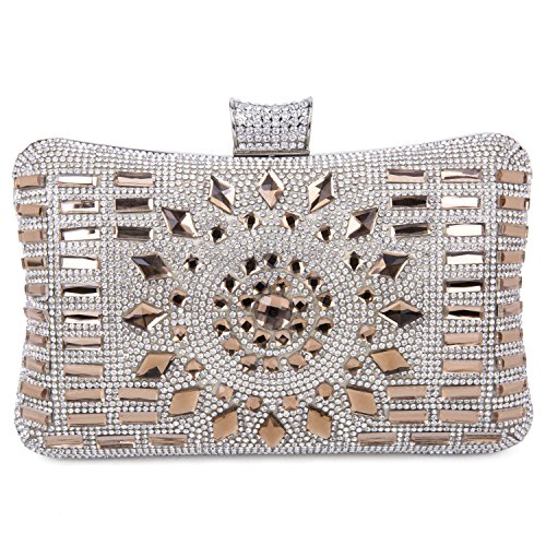Tanpell Women's Geometric Diamante Evening Banquet Party Clutch Bags Coffee by Tanpell