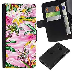 All Phone Most Case / Oferta Especial Cáscara Funda de cuero Monedero Cubierta de proteccion Caso / Wallet Case for HTC One M7 // Watercolor Pink Hawaii Palm Trees Island