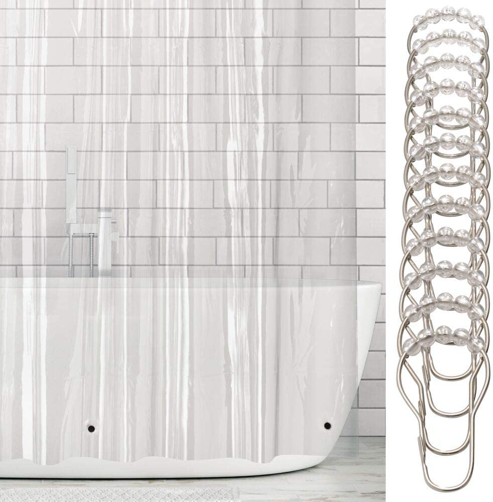 mDesign Long Waterproof, Heavy Duty Premium Quality 4.8-Guage Vinyl Shower Curtain Liner and Rings for Bathroom Shower Stall and Bathtub - 72
