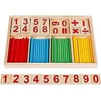 Anpro 67PCS Jouet de Calcul Mathematique Bebe Jouet Educatif En Bois Stick Baton Chiffres Mathematique Education Maternelle Pour Bebe, Enfant Plus de 3 Ans