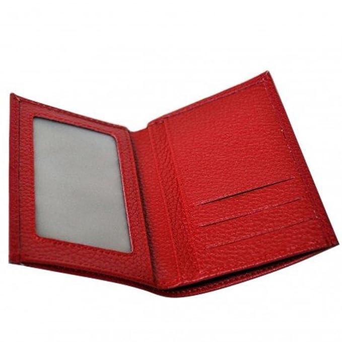 Charmoni-- Cartera, diseño De tarjeta De crédito, diseño De piel De vaqueta, con nueve Eurico rojo talla única: Amazon.es: Ropa y accesorios