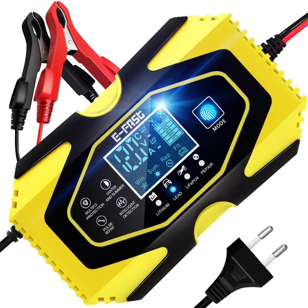 YDBAO Cargador de Baterías Coche Moto 6A 12V/24V con Múltiples Protecciones Automático Inteligente Mantenimiento Pantalla LCD para Batería de Litio Plomo-ácido LiFePO4