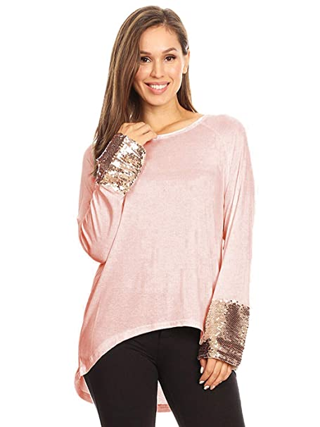 ab6858aa184 Anna-Kaci Women's Long Sleeve Rose Gold Embellished Sparkle Sequin Cuff  Tunic Top (Rose
