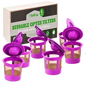 Reusable Refillable K Cup Filter | Compatible with Keurig 1.0 and 2.0 | Eco Friendly K Cup Saves Money | Fast and Easy Dishwasher Safe BPA Free Stainless Steel Mesh Filter (6 Pack)