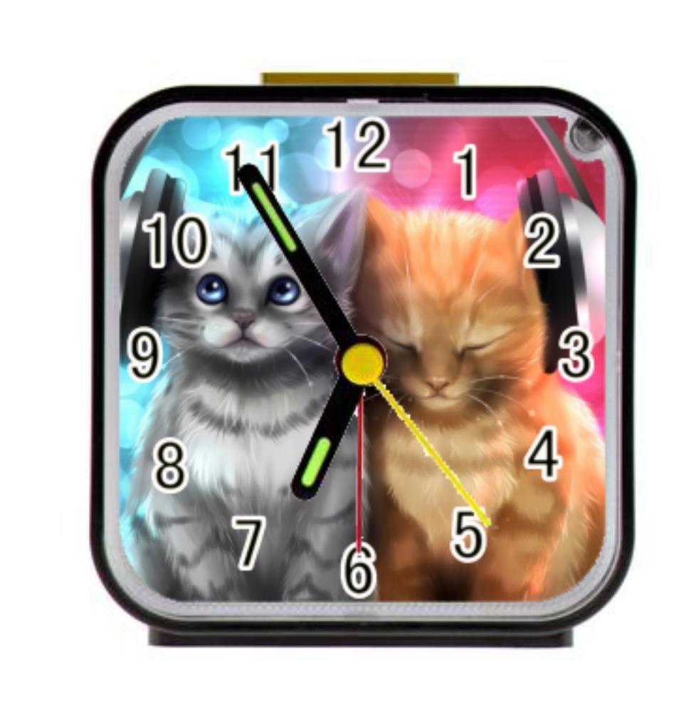 Dong Cun Bai Music Cat Alarm Clock Children Custom Square Black Alarm Clock 3.27''(H) x 3.07''(W) x 1.65''(D)