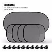 Onever Car Sunshade UV Protection for Baby Sunshade Kit for Car Side Windows Rear Window Mesh Net Screen Pop up Design Auto SUV Truck RV Set of 5 Shades PVC Suction Cups Included Easy Installation