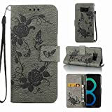 Strap Wallet Case for Samsung Galaxy S8 Plus,Aoucase Cute Butterfly Flower Painted Magnetic PU Leather Card Slot Kickstand Soft Slicone Flip Case with Black Dual-use Stylus,Gray