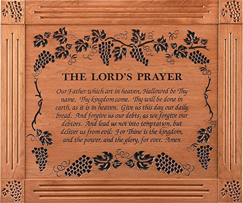 The Lord's Prayer Grape Vine 39 x 33 Cherry Wood Carved Wall Mounted Plaque
