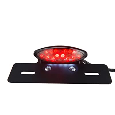 TASWK Motorcycle Tail Brake Stop License Plate Light LED Integrated Taillight Brake Light Red & White: Automotive