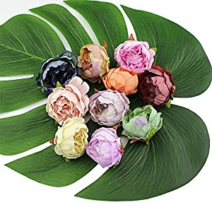 Peony Fake Flower Heads in Bulk Wholesale Crafts Silk Flower Head Silk Artificial Flowers Wedding Decoration DIY Decorative Wreath Party Festival Home Decor 15 Pieces 5cm 27