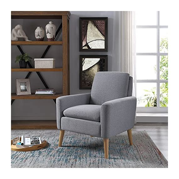 Modern Fabric Accent Chair Living Room Arm Chair Upholstered Single Sofa (Grey) - SLEEK DESIGN - DoubleWin fabric accent chair is ideal for your living room, bedroom, or office decor. Timeless modern design can match perfectly with any decor theme. ERGONOMICALLY - Accent chair filled with high density soft sponge. The Deep seat and ergonomic back offer unexpected comfort for you. DURABLE-Made of solid wood material and soft sponge, durable linen fabric cover. Make this leisure sofa chair is durable and can serve you a long time. - living-room-furniture, living-room, accent-chairs - 61VQPzThKSL. SS570  -