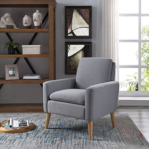 Lohoms Modern Accent Fabric Chair Single Sofa Comfy Upholstered Arm Chair Living Room Furniture Grey (Reading Chair Ottoman)