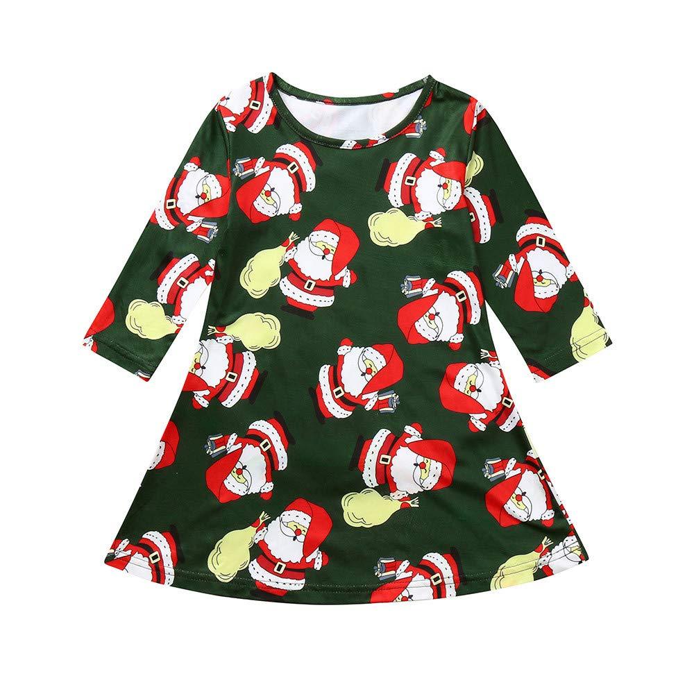 Vestido de Fiesta Navidad Regalo para Bebé Niñas Mangas Largas Otoño 2018 Moda PAOLIAN Ropa para Niñas Estampado Papá Noel Vestido Suelto Chica Faldas ...
