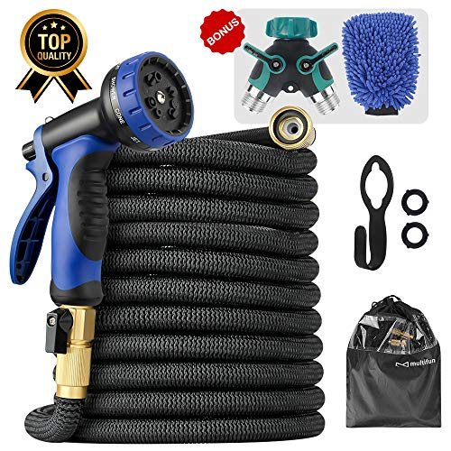 Expandable Garden Hose, Upgraded 50ft Water Hose with 10 Function Spray Nozzle and free Splitter & Wash Mitt, Flexible Hose with 4 Layers Latex & 3750D Fabric, 3/4 Heavy-Duty Brass Fitting, Hook & Bag