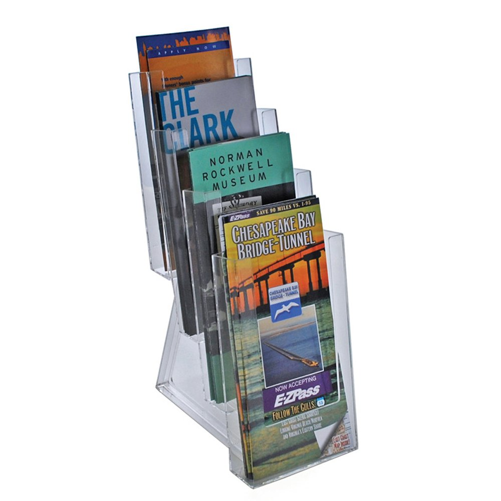 Azar Displays 252306 Four-Tier Tri-Fold Size Brochure Holder for Counter, 2-Pack