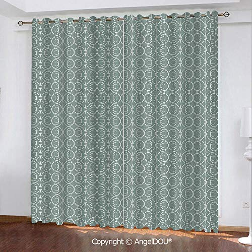 SCOCICI Set of 2 Panels Durable Blackout Stylish Grommet Window Drapes Curtains Medieval Authentic Style Curved Oval Floral Motifs for Bathroom Living Room Bedroom