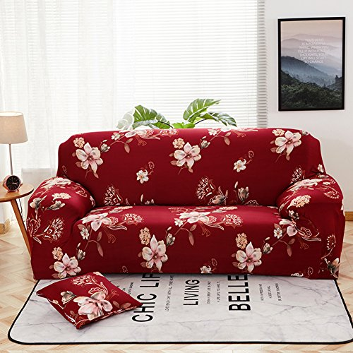 (Wayward Polyester Elastic Slipcover Sofa,Floral Printed Sofa Cover Dust-Proof Couch Universal All-in-one Anti-Slip Furniture Protector for Pet Dog and Children Kids Couch Covers-W Love Seats)
