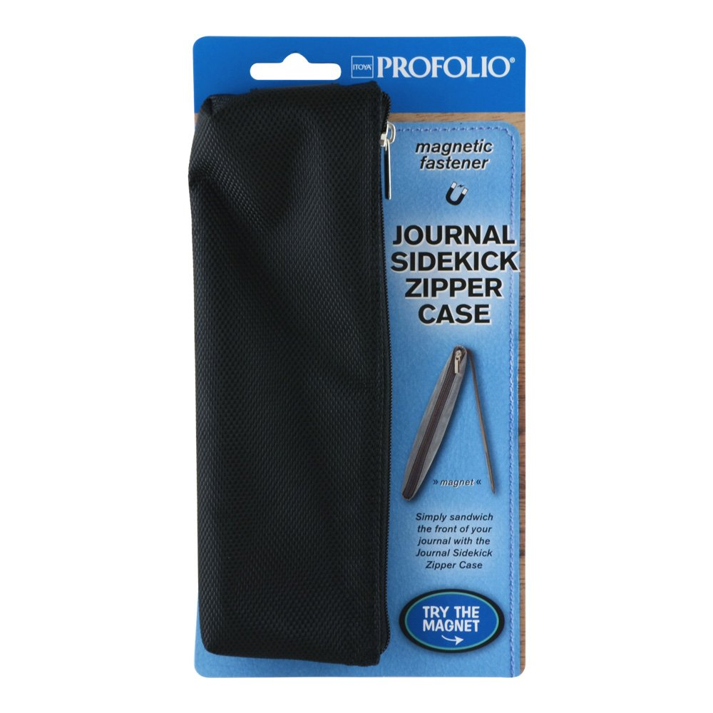 Itoya ProFolio Journal Sidekick Case, Durable Nylon with Zipper Closure, Magnetic, Black (JS2-BK)