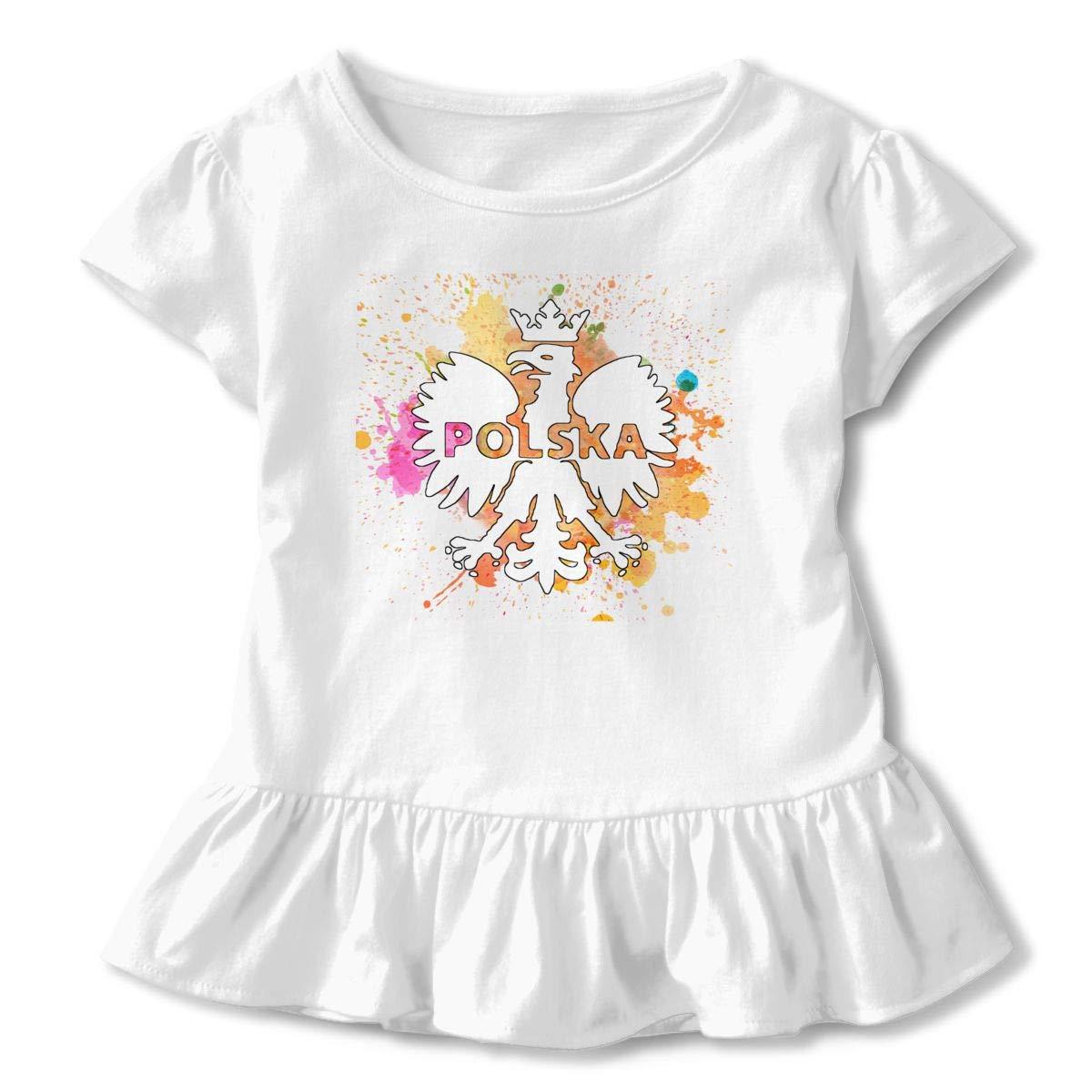 CZnuen Polska Polish Poland Eagle Baby Girls Basic Short Puff Sleeve Round Neck Ruffle T-Shirt