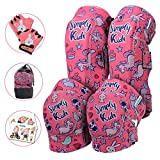 Innovative Soft Kids Knee and Elbow Pads with Bike Gloves | Toddler Protective Gear Set w/Mesh Bag | Roller-Skating, Skateboard, Bike for Children Boys Girls (Unicorn, Medium (4-8 Years))