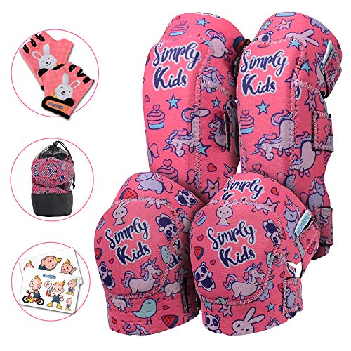 Elbow and Knee Pads for Kids with Bike Gloves | Kids Protective Gear Set | Kids Knee and Elbow Pads | Kids Knee Pads | Roller-Skating, Skateboard, Bike for Children Boys Girls (Unicorn, Small 2-4) (Girls Inline Skate Pads)