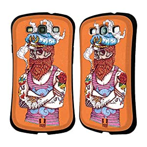 Head Case Designs Aye Captain Nautical Tattoos Hybrid Gel Back Case for Samsung Galaxy S3 III I9300