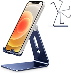 Adjustable Cell Phone Stand, OMOTON C2 Aluminum Desktop Phone Holder Dock Compatible with iPhone 11 Pro Max Xs XR 8 Plus 7 6, Samsung Galaxy, Google Pixel, Android Phones, Navy Blue