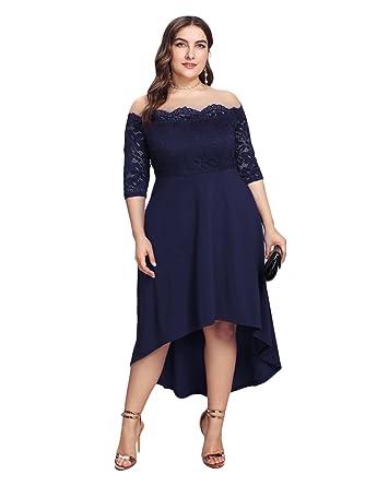 68a8d5d99dc GMHO Women s Lace Plus Size 3 4 Sleeves Midi Business Cocktail Short Formal  Dress (