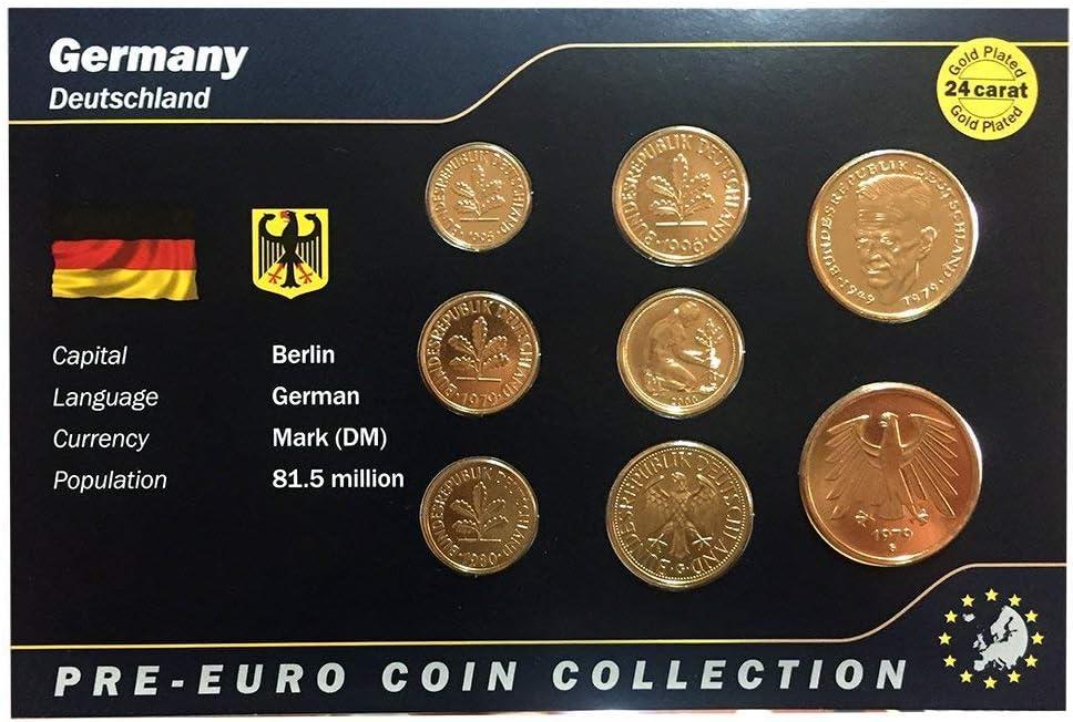 IMPACTO COLECCIONABLES Monedas Pre-Euro de Alemania bañadas en Oro de 24 Quilates - 8 Monedas Originales 1949/2001: Amazon.es: Juguetes y juegos