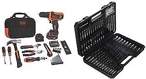 BLACK+DECKER 12V MAX Drill & Home Tool Kit, 60-Piece (BDCDD12PK) with BLACK+DECKER BDA91109 Combination Accessory Set, 109-Piece
