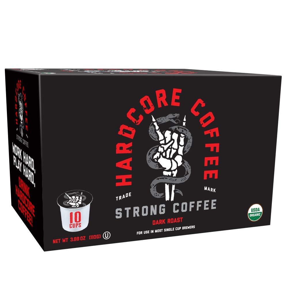 Hardcore Coffee Strong Dark Roasted Organic High Caffeine Cup Coffee, 10-Count