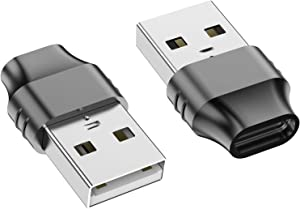 USB C Female to USB Male Adapter, JXMOX (2-Pack) Zinc Alloy Type-C to USB-A Adapter Compatible with Laptops, Power Banks, Chargers, and More Devices with Standard USB-A Ports (Grey)