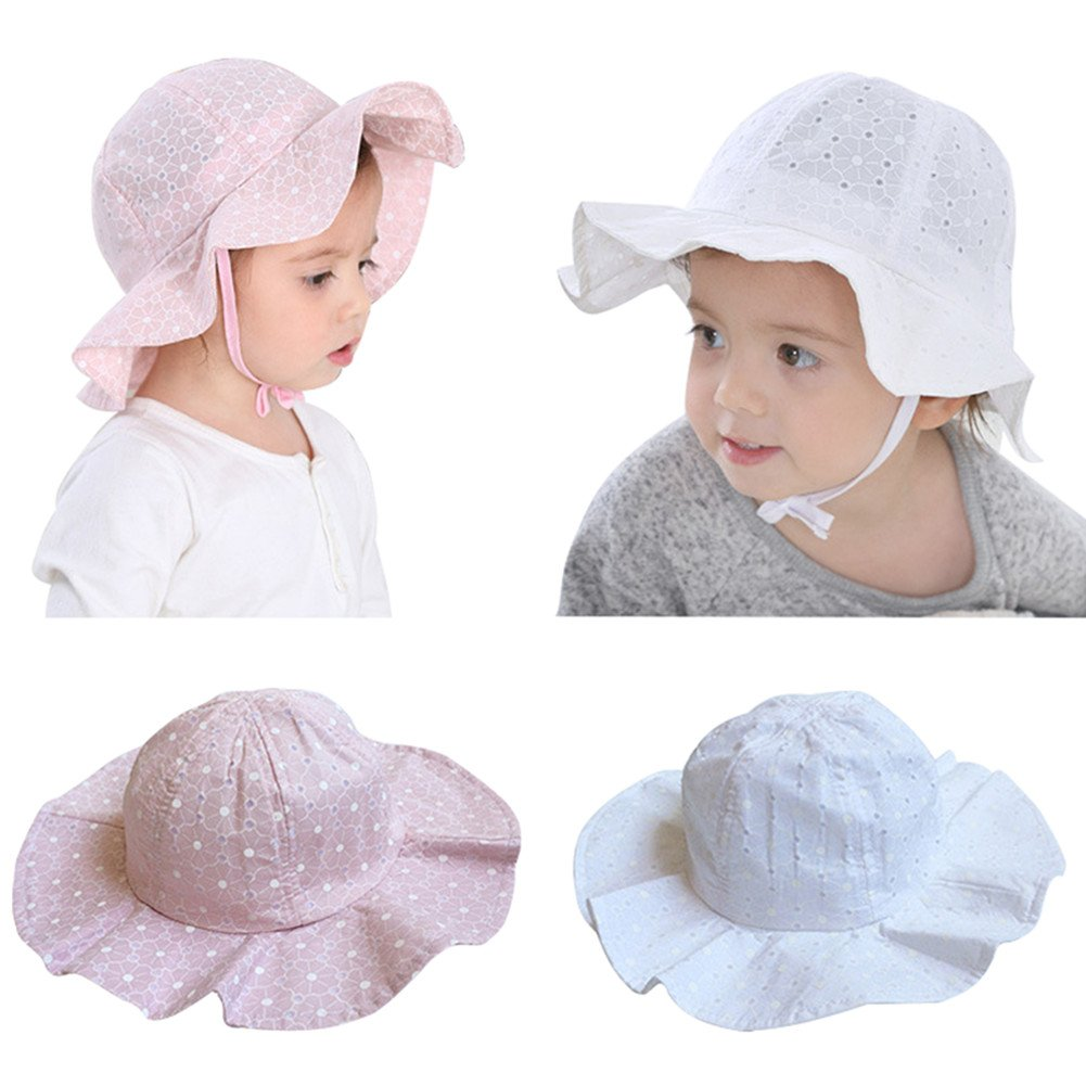 Baby Girl Sun Protection Hat Bucket Caps for 1-3 Years Infant Toddler Kids (2 Pack) (White + Pink)