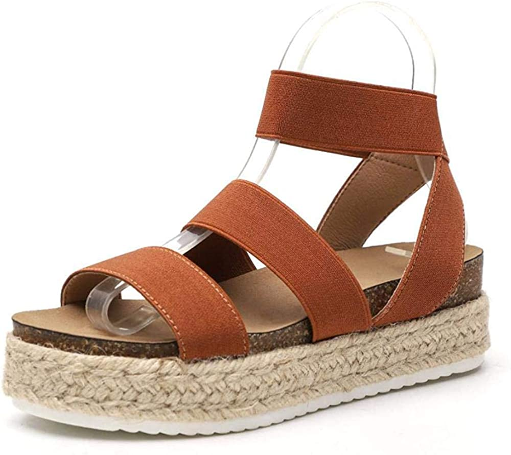 New girl sandals white elastic pull on style casual open toe summer platform