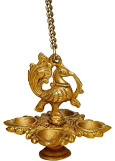 Crafthut Traditional Peacock 4 In 1 Brass Hanging Diya With 16 Inch Chain | Deepak | Oil Lamp | Home Decor | Spritiual Gift