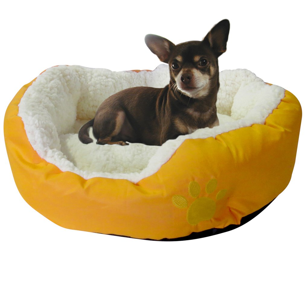 Evelots Small Round Pet Bed, One Size, Yellow