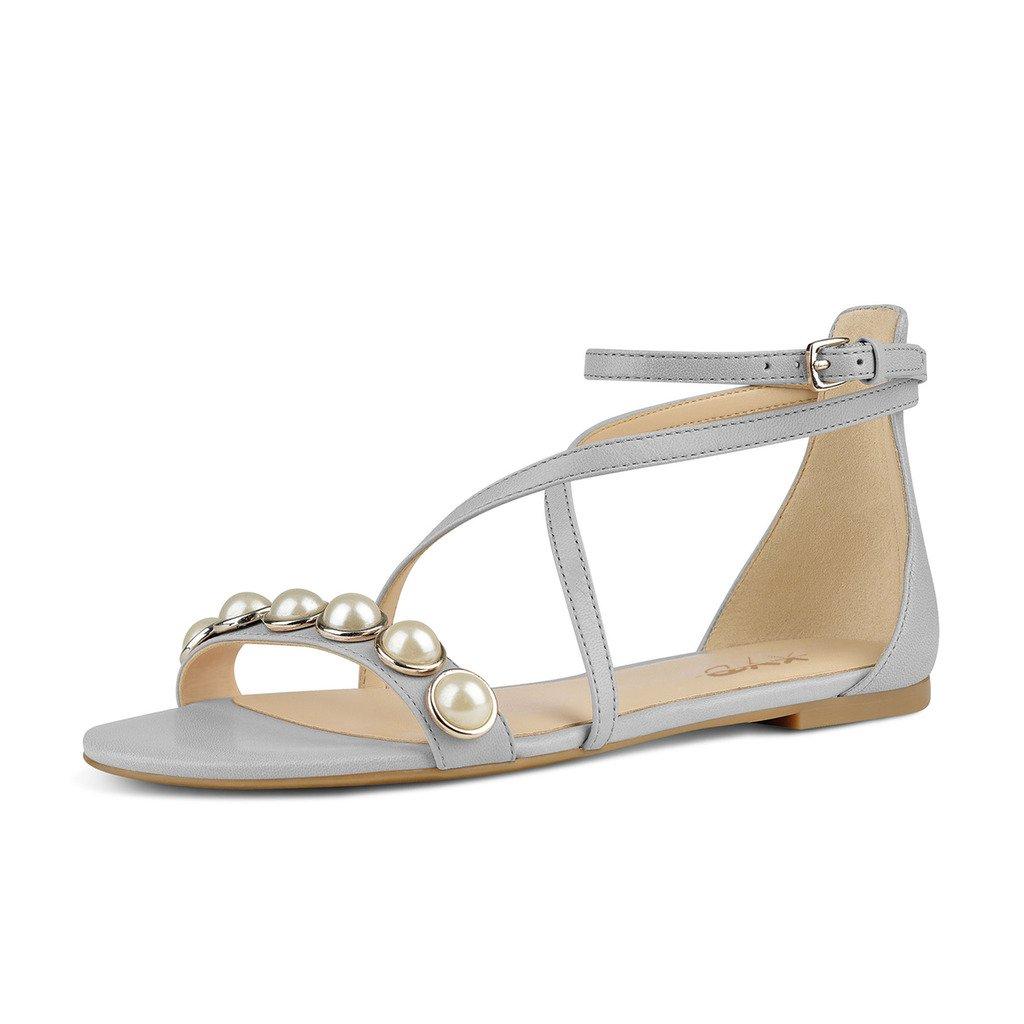 XYD Women Criss Cross Ankle Strap Sandal Flats Open Toe Buckles Dress Shoes With Beads B071SHHL71 8.5 B(M) US Gray