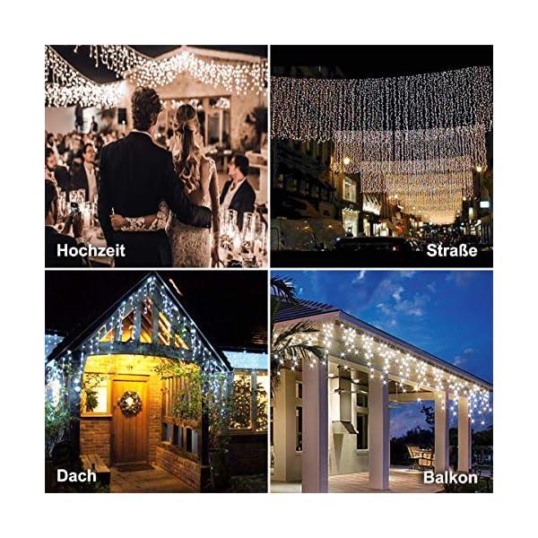 Cascata di Luci ECOWHO 440 LED Tenda Luminosa Bianco Caldo e Bianco Freddo,12x0,8m Luci di Natale 9 Modalità con telecomando, Catena Luminosa esterno per Natale patio Giardino Matrimonio 4 spesavip