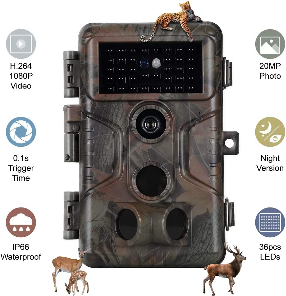 Folgtek Trail Camera H.264 20MP 1080P, 0.1s Short Trigger Speed Game Cam, 120° Detecting Range Deer Camera 100Ft Night Vision Motion Activated IP66 Waterproof for Hunting Wildlife Monitoring