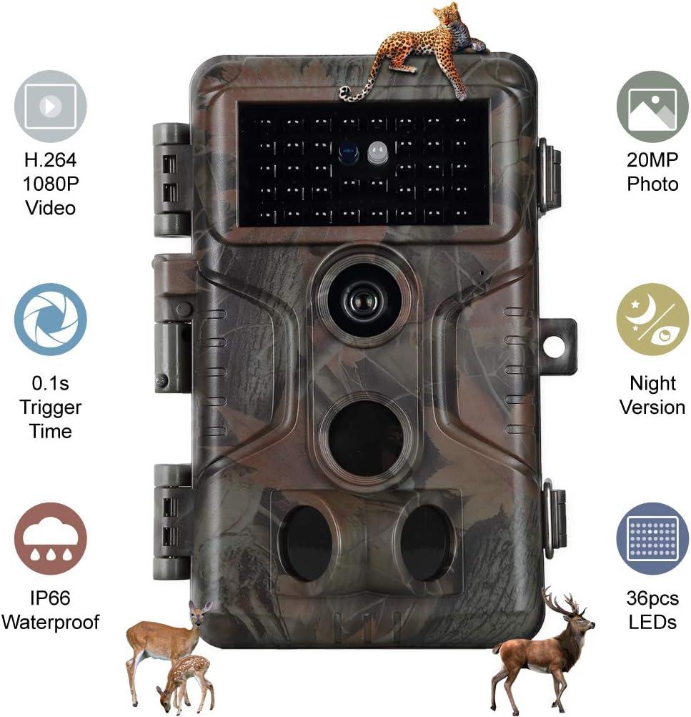 Folgtek Trail Camera H.264 20MP 1080P, 0.1s Short Trigger Speed Game Cam, 120° Detecting Range Deer Camera 100Ft Night Vision Motion Activated IP66 Waterproof for Hunting Wildlife Monitoring