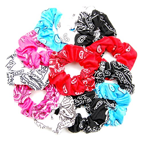 Luxxii Pretty Cotton Colorful Paisley Scrunchies Ponytail Holder Elastic Hair Bands 4 inch (12 Count, Assort Color)