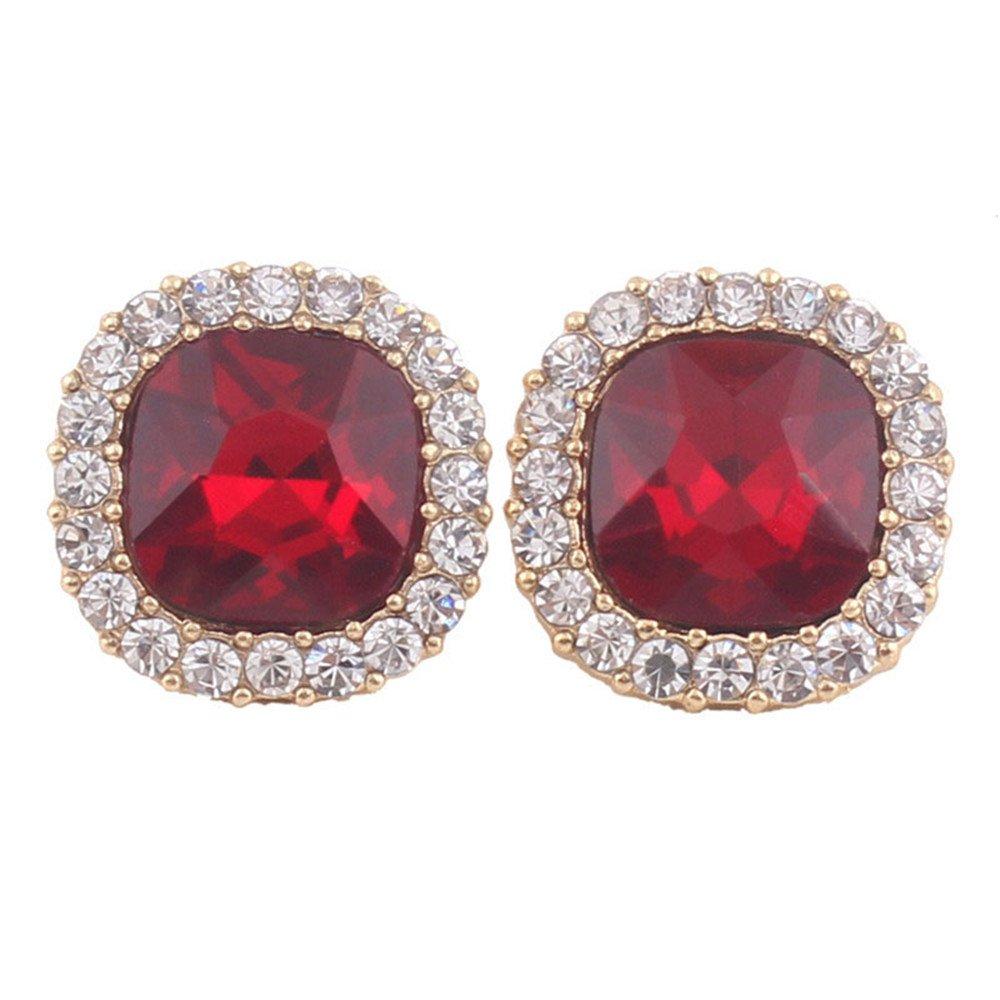 Grace Jun Luxury Bridal Rhinestone Crystal Square Shape Clip on Earrings Non Piercing for Women Ear Clip (Red)