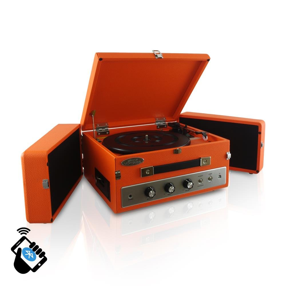Updated Version Pyle Portable Bluetooth Suitcase Record Player w/ 3-Speed Turntable with Radio, CD/Cassette Player, Aux-In and Bluetooth, Vintage Retro Classic Style, Vinyl-To-MP3 Recording (Orange)