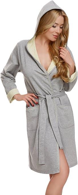 TALLA XL. Italian Fashion IF Bata con Capucha Vestido de Casa Mujer Komfort