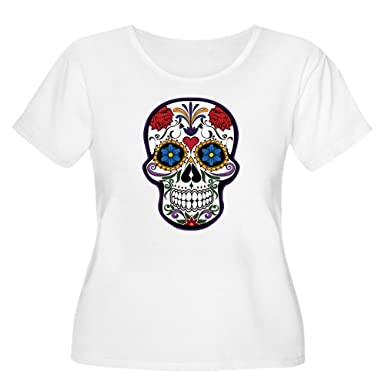 aae5b270ecb Truly Teague Women s Plus Scoop T-Shirt Floral Sugar Skull Day of the Dead -